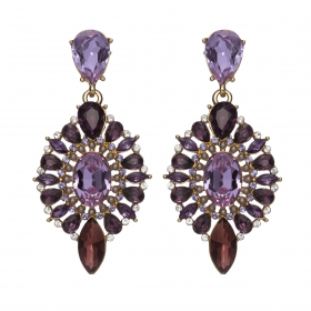 Náušnice Esra Exclusive Elegance Purple Shadows Crystals Gold