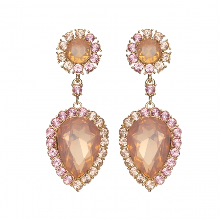 Náušnice Ruby Exclusive Elegance Vintage Rose Crystals Gold