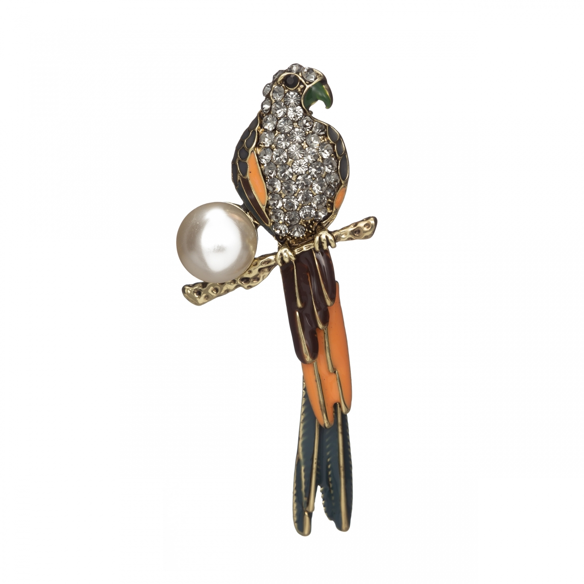 Brošňa Parrot With Zircon Crystals And White Big Pearl Antique Gold