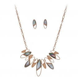 Súprava Minimalistic Oval Grey Shell Rose Gold