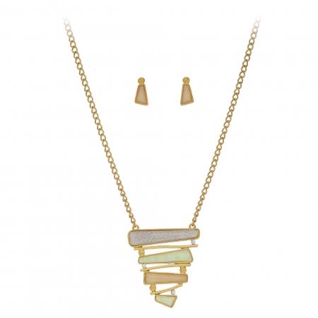 Súprava Pyramid Geometric White Gold