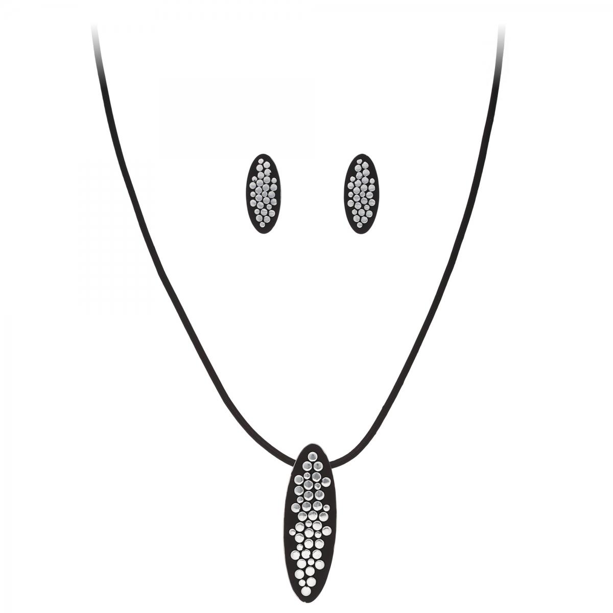 Súprava Fine Dots Black Eco Leather Silver