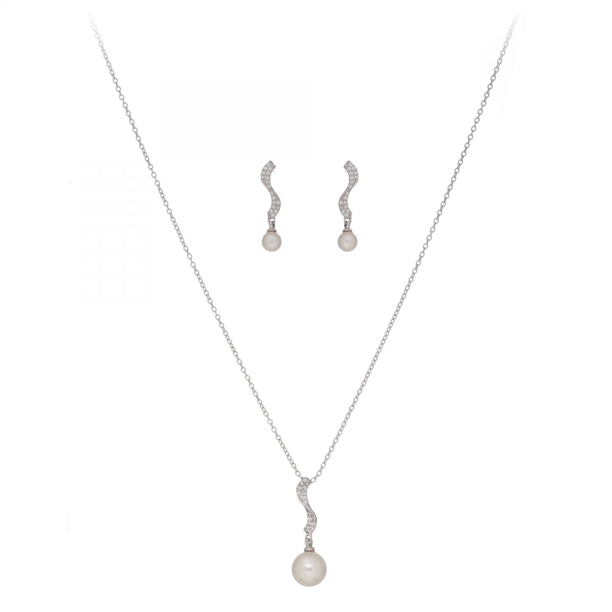 Súprava Fine Elegant White Pearl Zircons Silver