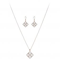 Súprava Fine Lace Pattern Zircon Crystals Rose Gold