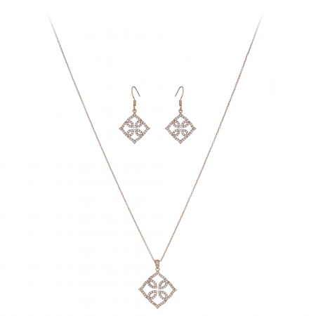 Súprava Fine Lace Pattern Zircon Crystals Rose Gold