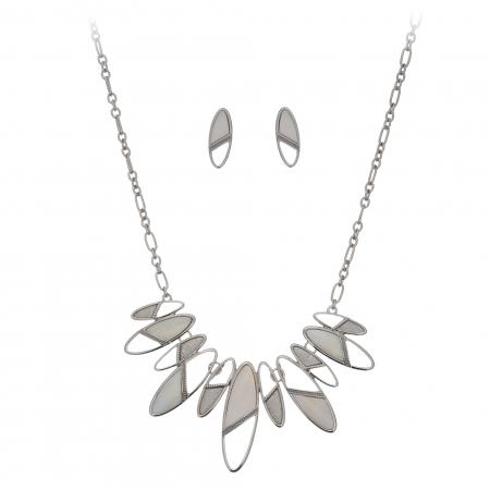 Súprava Minimalistic Oval White Shell Silver