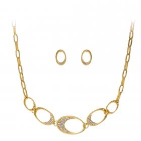 Súprava Modern Circles Zircon Crystals Gold