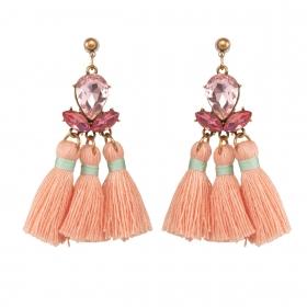 Náušnice Mia Pink Crystal Stripe Gold