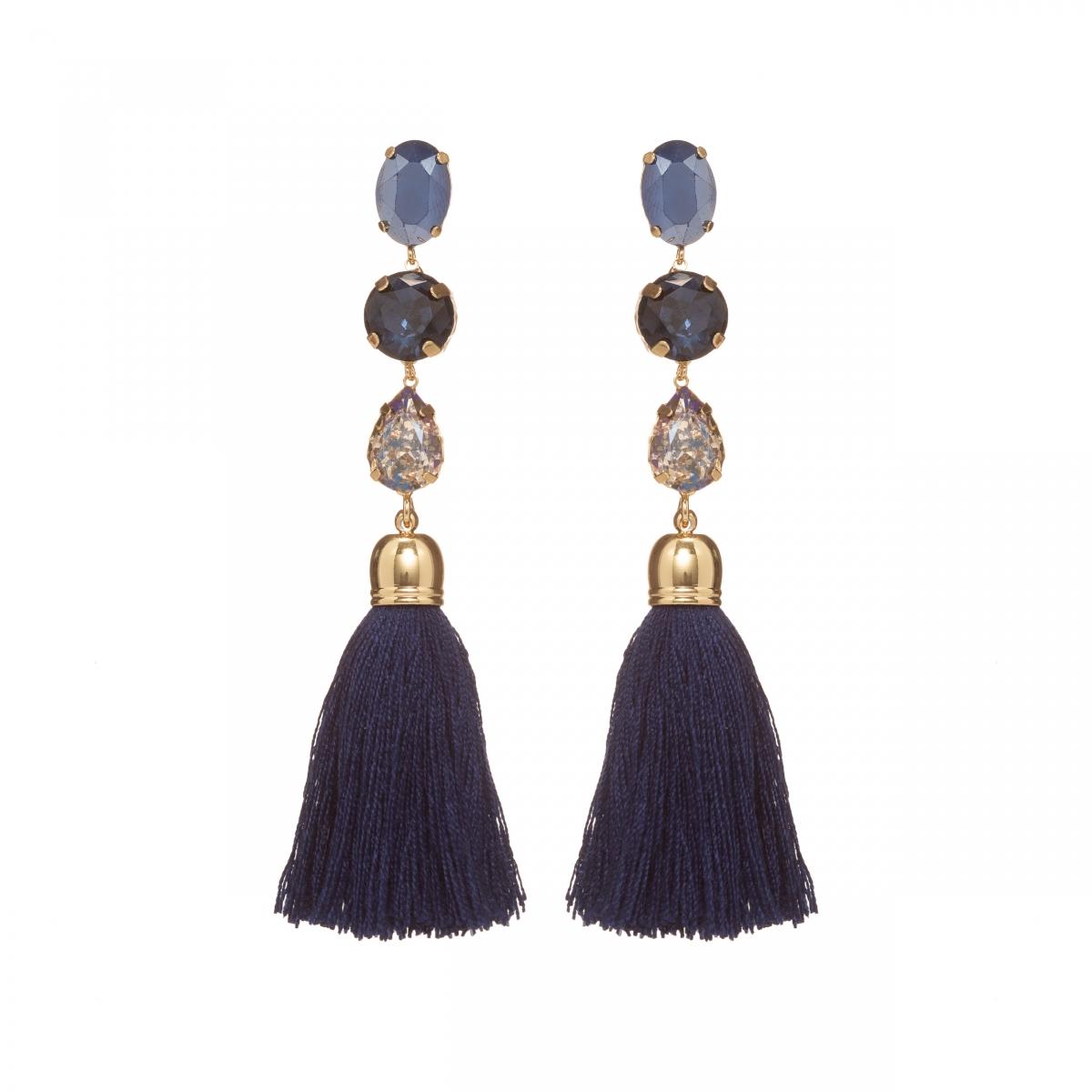 Náušnice Safi Long Dark Blue Crystal Stripe Gold