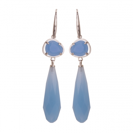 Náušnice New Fashion Dropp Baby Blue Silver