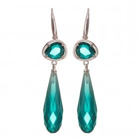 Náušnice New Fashion Dropp Smaragd Silver