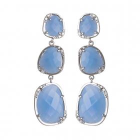 Náušnice Exclusive Elegance Long Baby Blue Zircon Silver