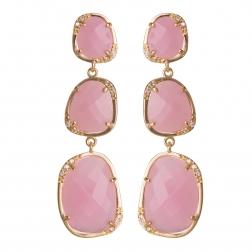 Náušnice Exclusive Elegance Long Light Pink Zircon Gold