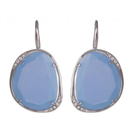 Náušnice Exclusive Elegance Stone Baby Blue Zircon Silver