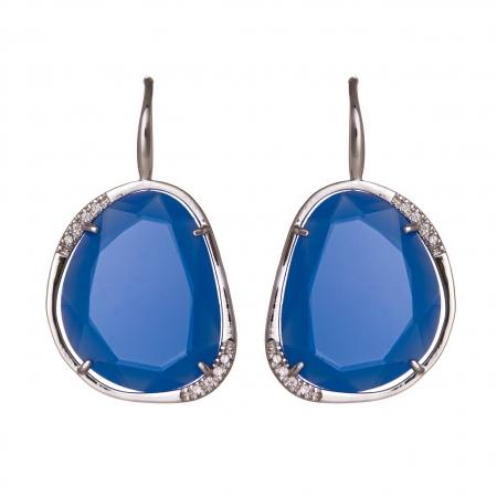 Náušnice Exclusive Elegance Stone Blue Zircon Silver