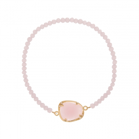 Náramok Exclusive Elegance Light Pink Zircon Gold Elastic
