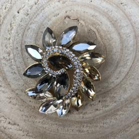 Brošňa elegantná šedo - zlatá so Swarovski krištáľom