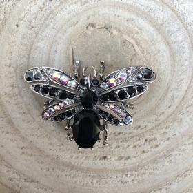 Brošňa včela čierna s AB krištáľom