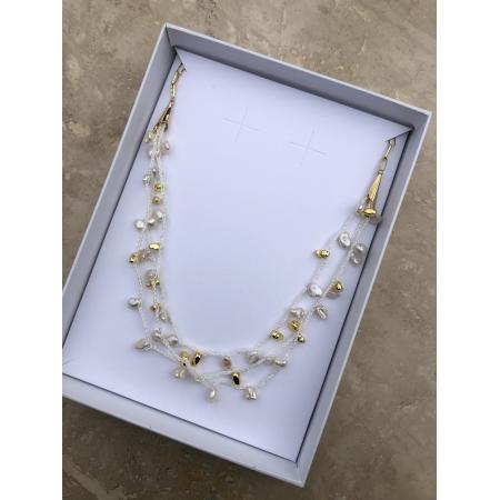 Náhrdelník dlhý Sarah s bielymi  riečnymi perlami