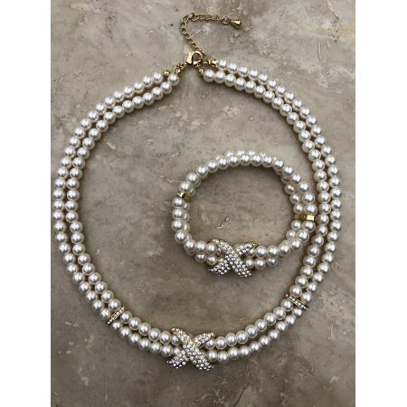 Súprava Chloe z bielych perál s náramkom