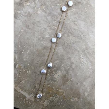 Náhrdelník Grace dlhý zlatý s pravými riečnymi perlami