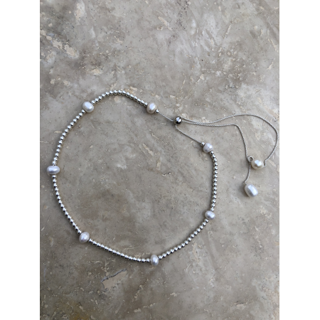 Náhrdelník Brooklyn strieborný s bielymi perlami
