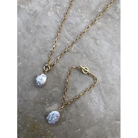 Súprava Maya náhrdelníka a náramku s príveskom pravou riečnou perlou