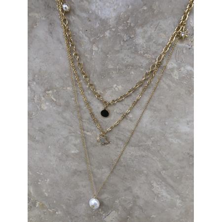 Náhrdelník Layla zlatý trojradový s príveskom pravou riečnou perlou