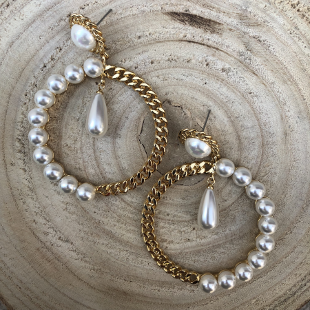 Náušnice Daisy s bielymi perlami