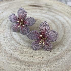 Náušnice Kvetiny ružovo fialkovej farby