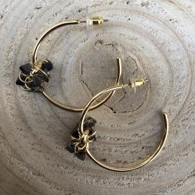 Náušnice polkruhy zlaté so čiernym krištáľom