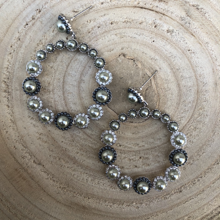 Náušnice Edy so sivými perlami