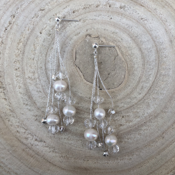 Náušnice Erin s bielymi perlami