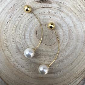 Náušnice Liu s bielou perlou