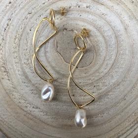 Náušnice Linda s pravou riečnou perlou