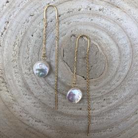 Náušnice Lina s pravou riečnou perlou