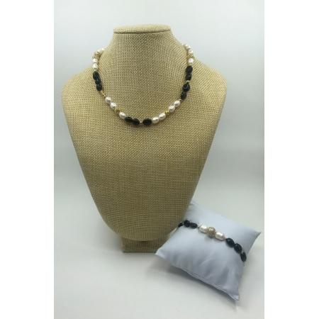 Súprava čierno - biela z pravých riečnych perál s náramkom