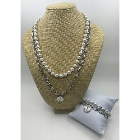 Súprava dvojradová biela perlová so strieborným príveskom