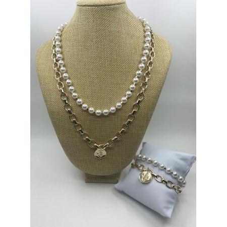 Súprava dvojradová biela perlová so zlatým príveskom s náramkom
