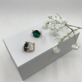 Náušnice Zoey smaragdovo zelené krištáľové z ružového zlata