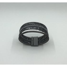 Náramok čierno metalický - eko koža - na magnet