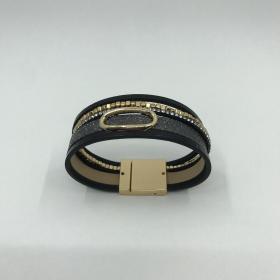Náramok zlato čierny -eko koža - na magnet