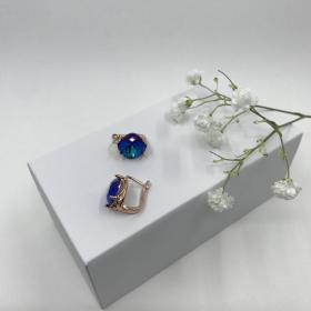 Náušnice Zoey kráľové modré krištáľové z ružového zlata