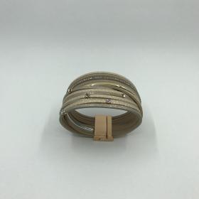 Náramok krémový s krištáľmi - eko koža - na magnet
