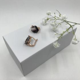 Náušnice Zoey čierne krištáľové z ružového zlata