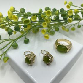 Náušnice Kate zelené s prsteňom