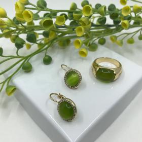 Náušnice Lilly zelené s prsteňom