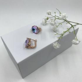 Náušnice Zoey ružovo fialkové krištáľové z ružového zlata