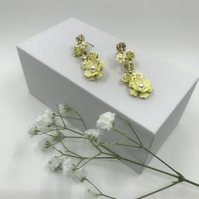 Náušnice Kady žlté s ružičkami