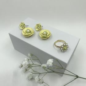 Náušnice Lena žlté s prsteňom
